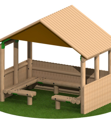 3.0 x 1.9m Shelter with Seats and Half Clad Sides
