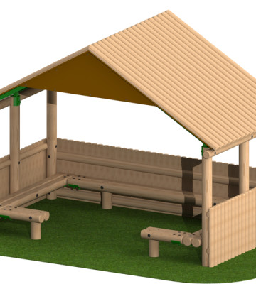 4.0 x 2.4m Shelter with Seats and Half Clad Sides