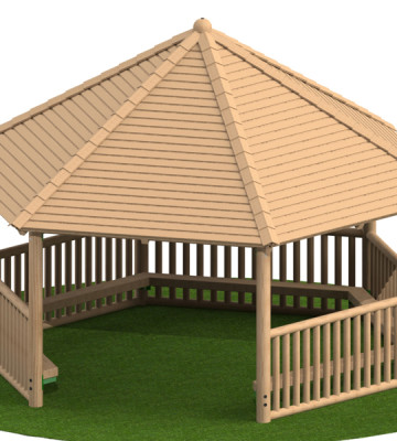 5.0m Hexagonal Shelter with Seats and Balustrade