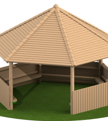 5.0m Hesagonal Shelter with Seats and Half Clad Sides