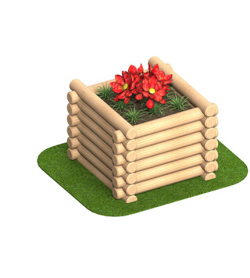0.9 x 0.9 x 0.6 Round Log Planter - Render 1
