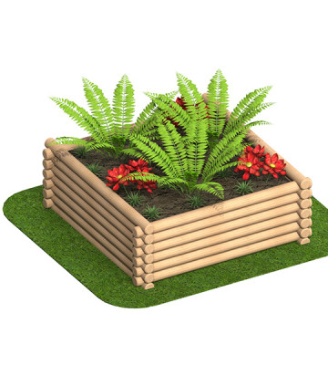 1.8 x 1.8 x 0.6 Round Log Planter - Render 1