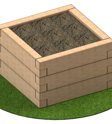 Sleeper Planter 950 x 950 x 585mm - Render 1