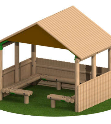 3.0 x 2.4m Shelter With Seats and Half Clad Sides