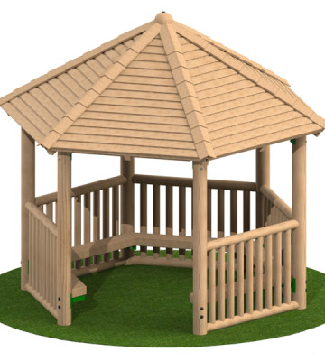 3.0m Hexagonal Shelter with Seats and Balustrade