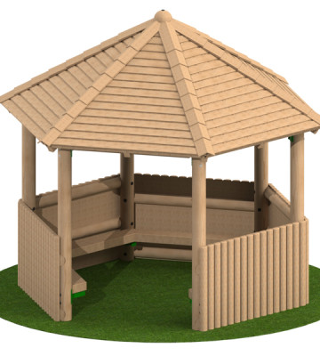 3.0m Hexagonal Shelter with Seats and Half Clad Sides