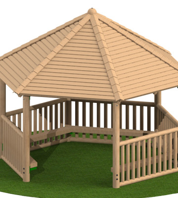 4.0m Hexagonal Shelter with Seats and Balustrade