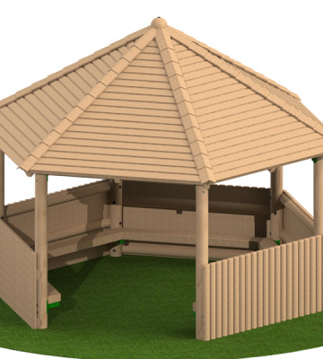 4.0m Hexagonal Shelter with Seats and Half Clad Sides