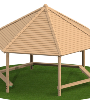 5.0m Hexagonal Shelter with Seats