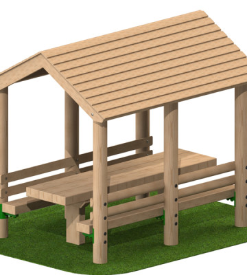 Timber Shelter with Benches and Table