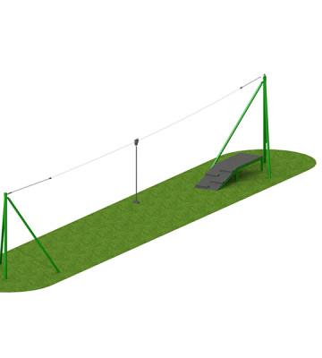 20m Steel 1 Way Aerial Runway - Render 1