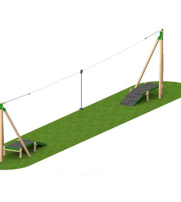 20m Timber Aerial Runway 2 Way - Render 2