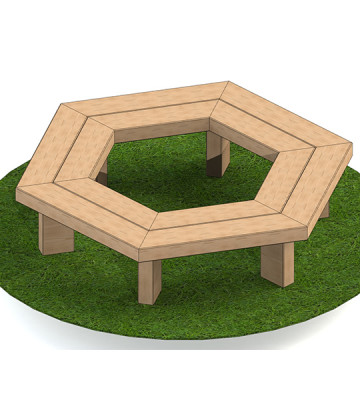 2m Hexagonal Tree Seat with 95mm Top - Image 1