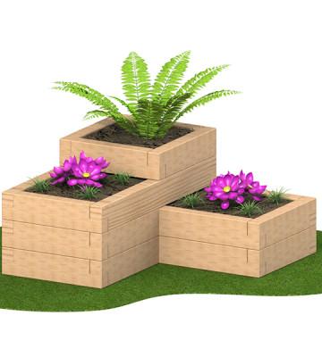 3 Tier Sleeper Planter 1.58 x 1.58 x 780mm - Render 4